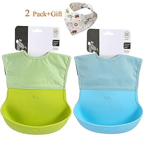 Chilly aufrollbares weiches Lätzchen aus Silikon mit Tasche für Kleinkind und Baby, wasserdicht mit komfortablem Stoffhals, 2erSet