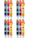 Go Inks C-551CMY-SET-4 Pack de 12 Cartouches d'encre compatible avec Imprimante CLI-551C/CLI-551M/CLI-521Y Cyan/Magenta/Jaune