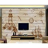 ACYKM 3D murale carta da parati Retro parete dipinta a mano del fondo della TV di navigazione del faro dipinto a mano 98 * 62inch