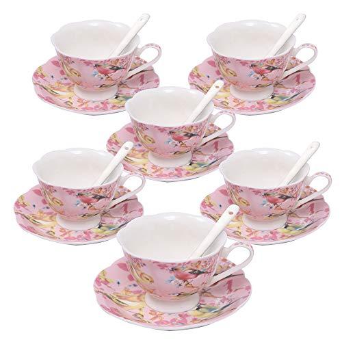 Ufengke 7oz set tazzine da caffè, servizio da tè da caffè fiori e uccelli in porcellana, set di 6 tazze da tè e piattino in ceramica - rosa