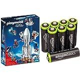 Playmobil - Cohete con plataforma de lanzamiento (61950) y 8 pilas recargables...