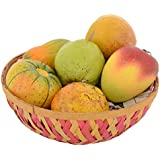 Utsav Kraft Wooden Kondapalli Artificial Fruits with Basket, Crafts of Andhra Pradesh, Home Decor, Indian Wooden Handicrafts, Kondapalli Handicrafts (18 cm x 18 cm x 10 cm)