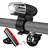 Bike Light Set, SGODDE Super Bright LED Bicycle Light, Powerful 300 Lumens USB Rechargeable Bike Light, 4 Modes Cycle Lights, Waterproof Front Lights and Taillight,Cool Set for Safe Cycling (With a Fashion Bike Bell)
