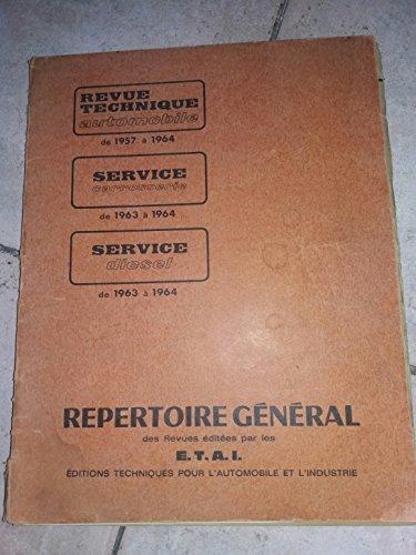 REVUE TECHNIQUE AUTOMOBILE - REPERTOIRE GENERAL