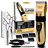 PETKING - Dog Grooming Clippers for Pets | Cat Hair Trimmer Kit - Best Cordless Dog Clippers Low Noise | Professional Hair Clipper Set with 4 Comb + Pro Accessories | Quiet Rechargeable Shaving Tool