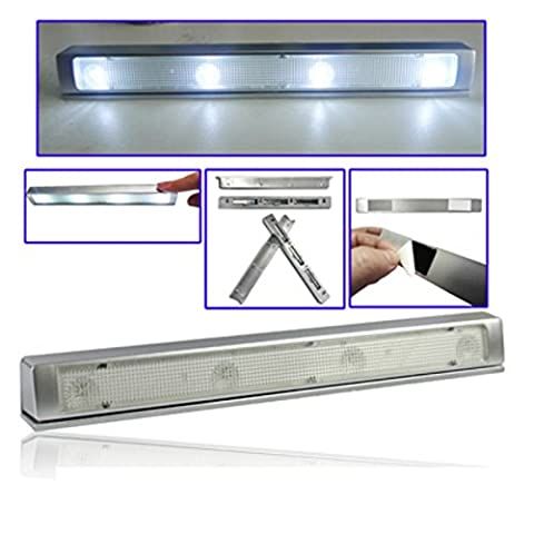 Super Bright White LED Wireless Draw / Cupboard Light with Motion Detection - 4 LED strip PIR motion sensor battery lamp