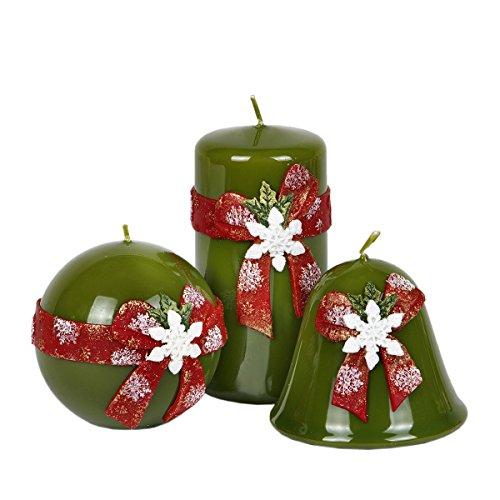 Juego de 3verdes Diseño Velas Velas de Navidad Roja Navidad Nieve folcke