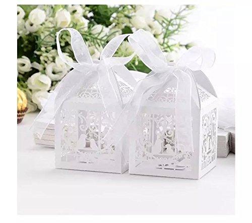 100Laser geschnitten Hochzeit Süßigkeiten Love Bird Hochzeit Favor Candy Geschenke Boxen Box Bonbonniere mit Bändern Bridal Dusche Hochzeit kleine Geschenke weiß von maibuyuu (Klein Candy Box)