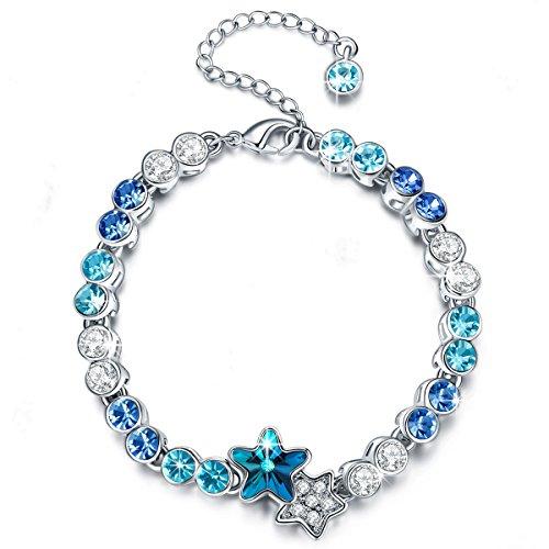 Pauline & Morgen Stella Amore Bracciale donna con cristalli da Swarovski blu colore argento regalo compleanno san valentino natale festa della mamma regali per fidanzata moglie figlia matrimonio sposa