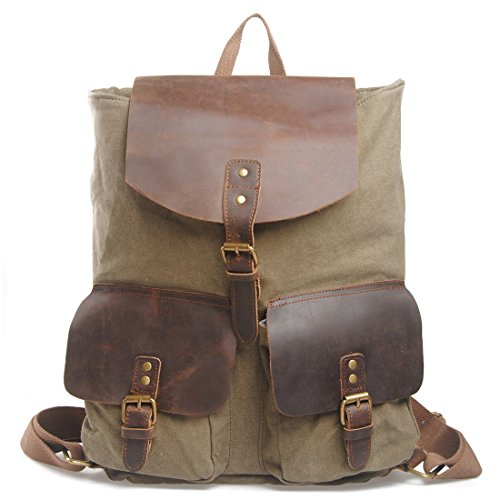 simplebase Unisex in Pelle con tela zaino Vintage Casual zaino borsa da palestra verde 6819green Standard 6819green