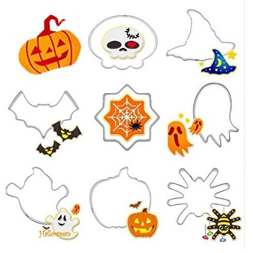 Nikgic 8 Stücke Metall Edelstahl Schneider Halloween Serie Kürbis Hexe Hut Schädel Geist Keks Schneider(Acht zu Verkaufen)