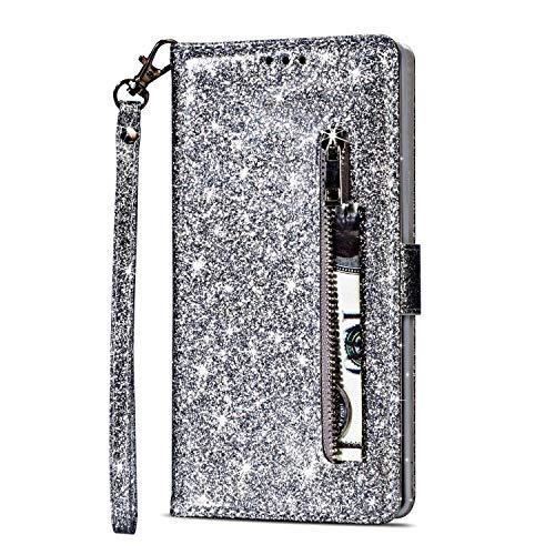 Artfeel Reißverschluss Brieftasche Hülle für Samsung Galaxy S9 Plus, Bling Glitzer Leder Handyhülle mit Kartenhalter,Flip Magnetverschluss Stand Schutzhülle mit Tasche und Handschlaufe-Silber - Reißverschlusstasche Hinten