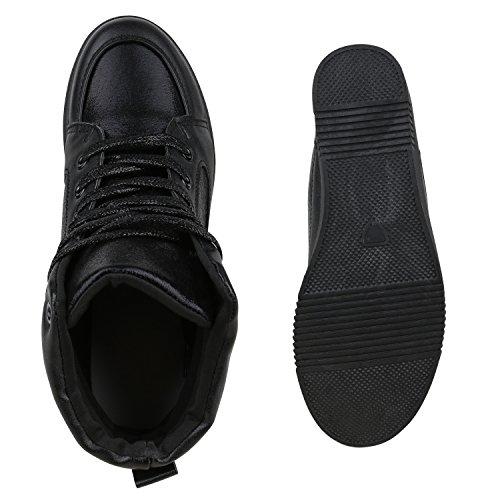 Damen Sneakers Keilabsatz Sneaker-Wedges Lack Glitzer Schuhe Schwarz
