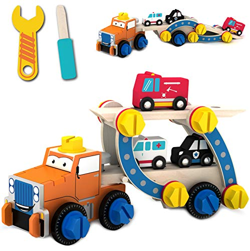 Smontare il giocattolo & strumento per bambino Construction Toy Rimorchio di salvataggio più camion dei pompieri auto della polizia e ambulanza