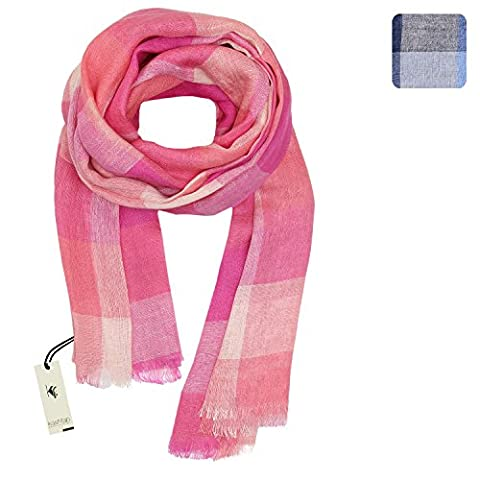 KASHFAB Cachemire Femmes Hommes Été Écharpes Cheques de Mode, Étole de Lin Tatran, Tissu Long Doux Châle, Pashmina élégant Rose