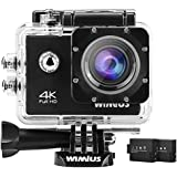 WIMIUS Q1 4K Action Camera WiFi Ultra HD 16MP Waterproof Sports Camera 2.0 ' ' 170Wide Angle Include Waterproof Case,2pcs Batteries And Full Accessories Kits (Black)