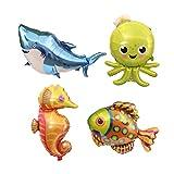 TOYMYTOY Groß Aufblasbare Seetiere Folienballons - 38 Inch, 4 Stück, Hai, Krake, Seahorse, tropische Fische