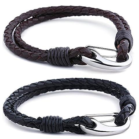 Cupimatch Noir et marron 2 pcs Cuir tressé Corde Couple Bracelets pour homme femme