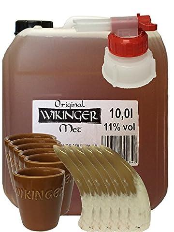 Wikinger Met 10 Liter Kanister + Tonbecher 6er Set + Ausgießer + 6 Trinkhörner 0,1 Liter