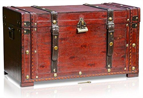BRYNNBERG Holztruhe | Model: Boston | Schatzkiste mit Schloss groß im Vintage-Look | handgefertigte Unikate Schatztruhe | antikes Design | Bauernkasse | mit Griffen | 50x25x28cm (Boston 50x25x28cm)