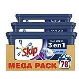 Skip Ultimate Lessive 3en1 Capsules Active Clean 78 Lavages (Lot de 3x26 Capsules)