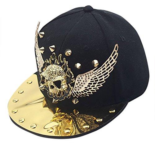 Baseball Snapback Kappe Gezeiten Metall Snap Punk Hüte - Gold (Punk Rock Kostüm Junge)