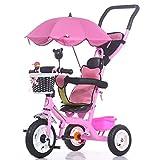 Tricycles Enfants Trike Landau Enfants Vélo 1-6 Ans Grand Bébé Filles Voiture 3-Roues (Couleur : Rose)