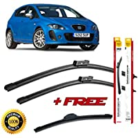 Set of 3 flat blade wiper blades for SEAT LEON II 2005-2012 rear wiper