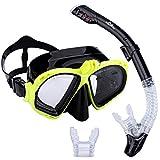 Supertrip Premium Schnorchel-Set für Erwachsene mit 2Mundstücken, Tauchermaske, Schnorcheln, Tauchen, Schwimmbrillenmaske, Trockenschnorchel-Set mit Kamerahalterung, gelb