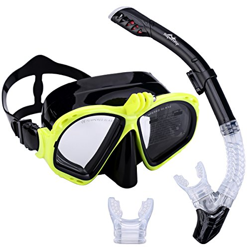 Supertrip Premium Schnorchelset erwachsene Taucherbrille mit Schnorchel Tauchset Tauchmaske mit kamera halterung Tauchen dry Schnorcheln Set (Gelb)