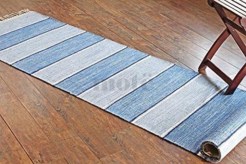70x300 cm Tapis de chambre multicolore moderne. Tapis tissé plat réversible fait avec du fil 100 % organique et des colorants naturels. 2'4