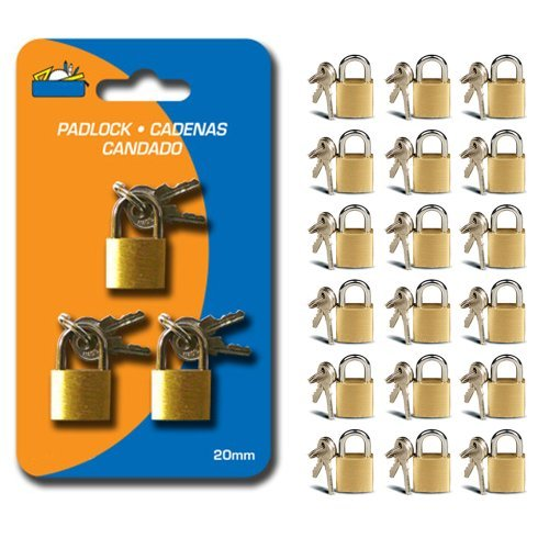18 Small Metal Padlock Mini Brass Tiny Box Travel Locks Keyed Jewelry 2 Key 20mm by ATB -