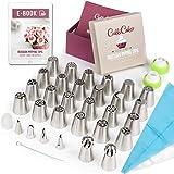 CukkiCakes Set de Douilles Russes - 55 pièces pour la décoration florale des gâteaux et cupcakes: 30 embouts de glaçage, 20 sacs à douilles jetables, 1 sac en silicone, 3 adaptateurs et 1 boite cadeau