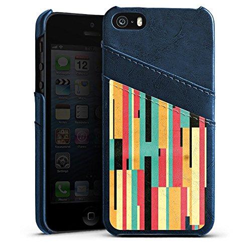 Apple iPhone 4 Housse Étui Silicone Coque Protection Bandes Motif Motif Étui en cuir bleu marine