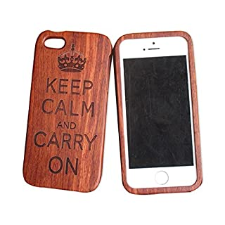 iPhone 5C 5s Wooden Phone Case iphone 5se Carved Wooden Case iphone 4s All Solid Wood case (iphone5C, Crown)
