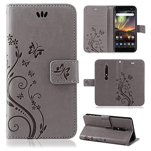 betterfon   Flower Case Handytasche Schutzhülle Blumen Klapptasche Handyhülle Handy Schale für Nokia 6.1 Grau -