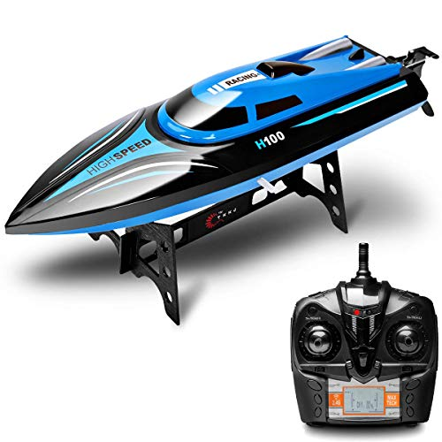 Rabing 2.4G RC High Speed Pools Lakes Outdoor, 30 Km/H Radio Toys for Adults & Kids, 4CH Rechargeable Racing Boat by Remote Control-Blue
