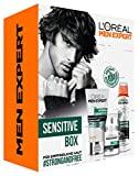 L'Oreal Men Expert Hydra Sensitive Set, für empfindliche Haut, Hydra Sensitive Birkensaft Duschgel (300 ml) und Sensitive Control Deo Spray (150 ml)