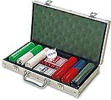 Juego de póquer en maletín de aluminio, incluye 2Barajas Naipes, Poker Dados y Dealer Chip