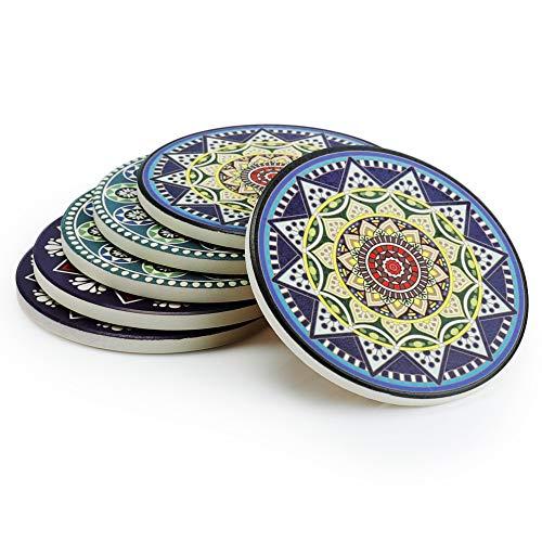 Sweese 3407 Untersetzer Keramik - Absorbierenden Untersetzer, Bestehend aus Hochtemperatur Verstärktem Porzellan und Kork, Untersetzer Set für Glas, Tassen und so Weiter, Satz von 6 -