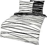 Kaeppel Wendebettwäsche Motion Biber schwarz-weiß Größe 135x200 cm (80x80 cm)