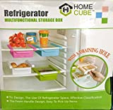 Home Cube Plastic Kitchen Refrigerator Fridge Storage Drawer Rack Freezer Shelf Holder Kitchen Organization (Set of 1),Multicolor