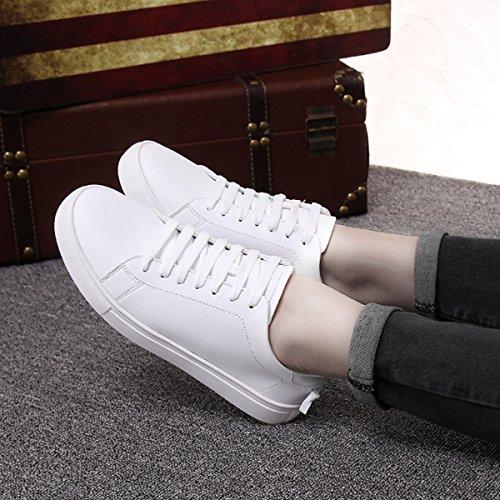 Damen Sneaker Flach Rundzehen Einfach Klassisch Modisch Sportlich Weich Bequem Strapazierfähig Rutschhemmend Freizeit Schnürschuhe Weiß