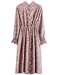 Damen Langarm Kleid Maxikleider Blumenkleid Drucken Strandkleid Vintage  Abendkleid Rundhals Taille Elegant Floral Print Böhmischen Freizeit 7f2358371f