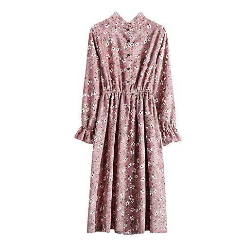 JUTOO Frauen-beiläufige elastische Taillen-Stand-Hals-Druckblumenkleid-SAMT-Gewelltes Kleid(A3-Rosa,EU:44/CN:XL)