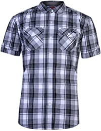427e64df0 Mens Lee Cooper Chest Pockets Short Sleeve Checked Cotton Shirt Top