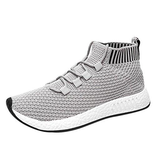 FNKDOR Herren Hohe Sneaker Weich Sohle Schuhe Laufschuhe Turnschuhe(EU:42 (CN:43),Grau) (Zip-sneaker-männer)