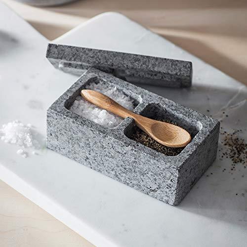CKB Ltd Salz- und Pfefferstreuer aus Granit, mit Bambuslöffel, Steinbox mit Deckel für Kräuter und Gewürze -