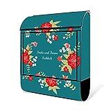 BANJADO Design Briefkasten schwarz | 38x47x13cm groß mit Zeitungsfach | Stahl pulverbeschichtet | Wandbriefkasten mit Motiv WT Landhaus Romantik mit weißem Standfuß