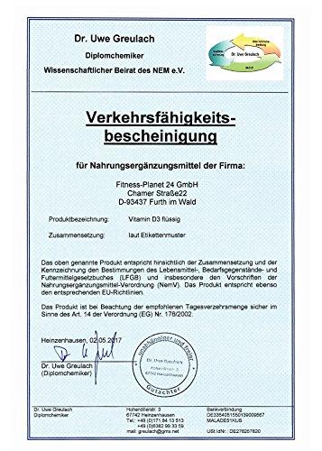 FP24 Health Vitamin D3 Tropfen – 1000 I.E. – 50ml – (1350 Tropfen) – Hohe Bioverfügbarkeit durch MCT-Öl aus Kokosöl – Vitamin D Hochdosiert – Top Qualität – Made in Germany